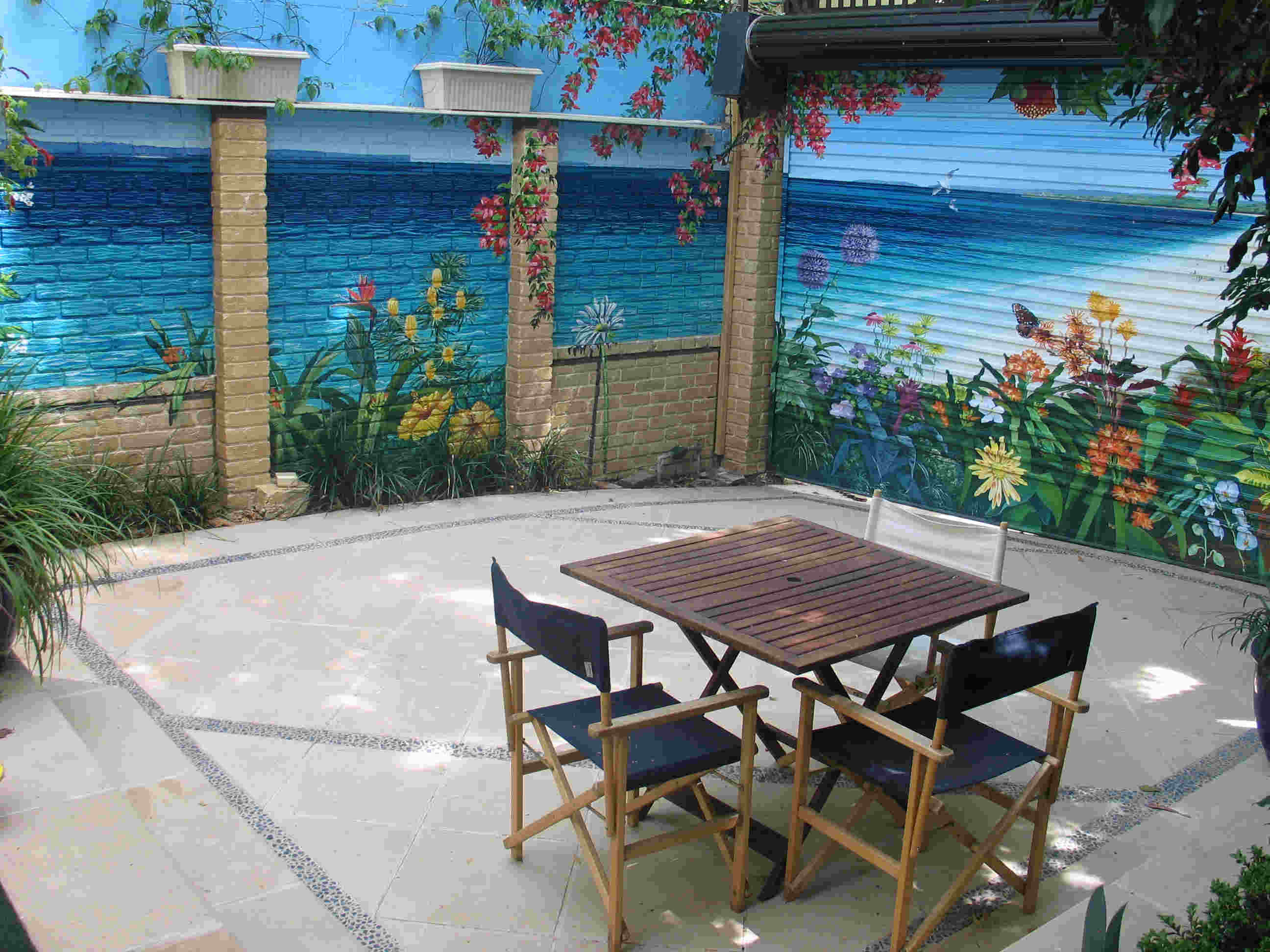 beach scene backyard in glebe muralart the backyard consisted of a brick wall and a garage door after preparing and undercoating the surfaces with etch primer and stain resistant prep coat