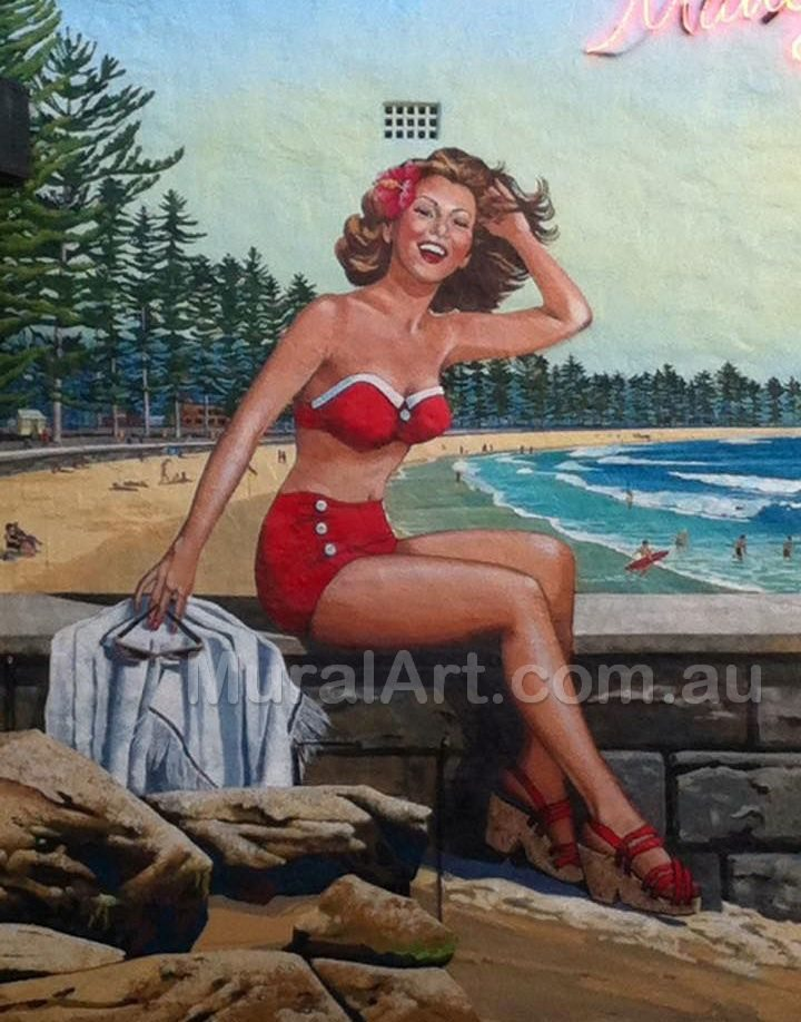 A picture of a painting of Miss Manly, iconic of Manly