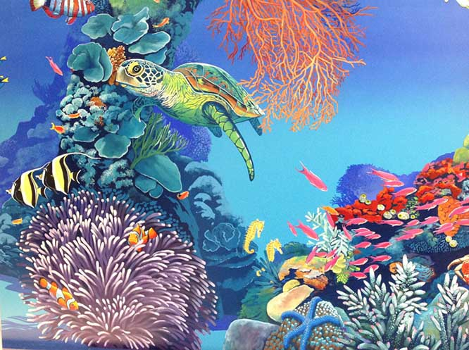 Underwater Scene showing a turtle and coral