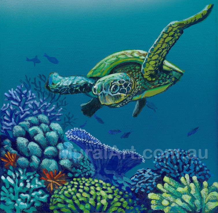 A hand painted image of a turtle swimming with Coral