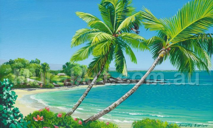 Tropical Beach with Flowers, original artwork by Annette Barlow