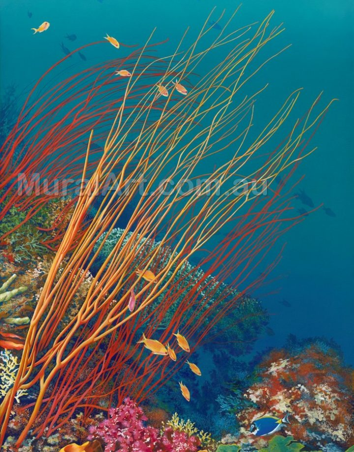 A depiction of flowing coral under clear water