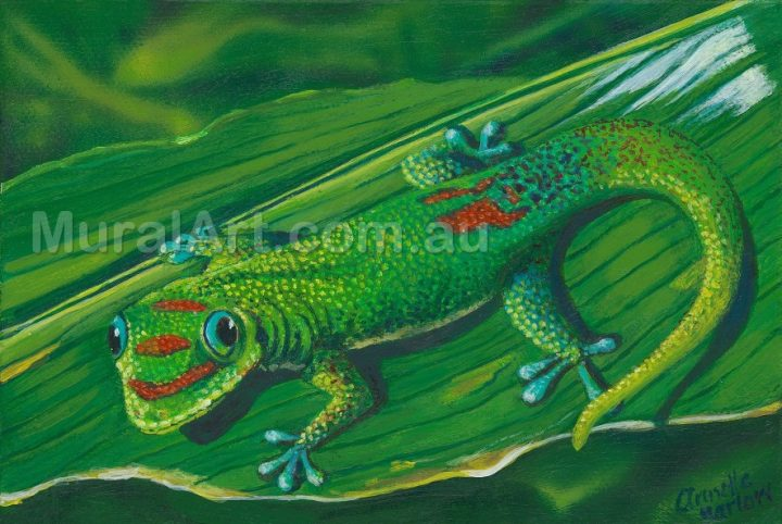A painting of a Gecko on a leaf.