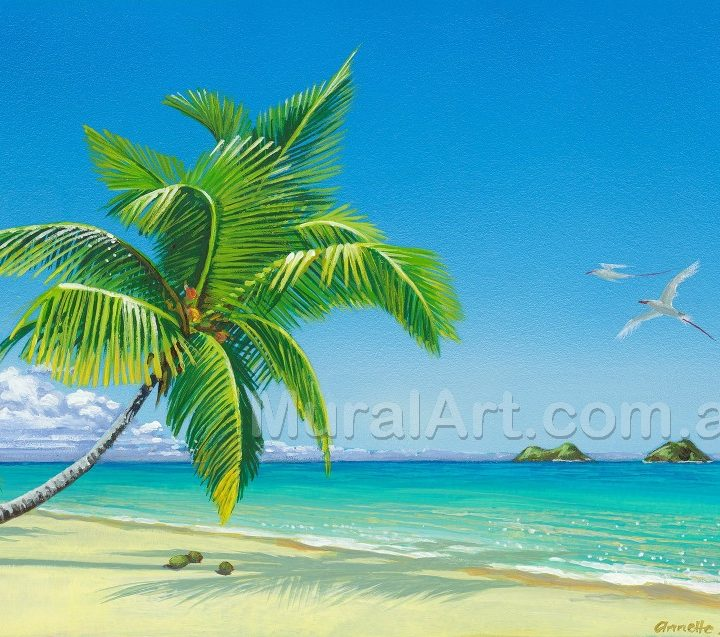 A painting of a palm tree with islands in the distance