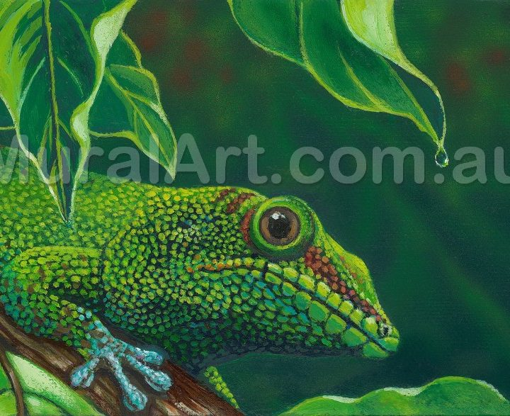 Depiction of a gecko on a branch under a leaf