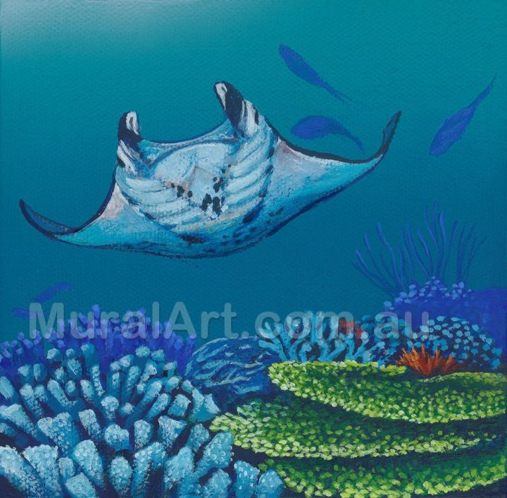 A depiction of a Manta Ray swimming near coral.