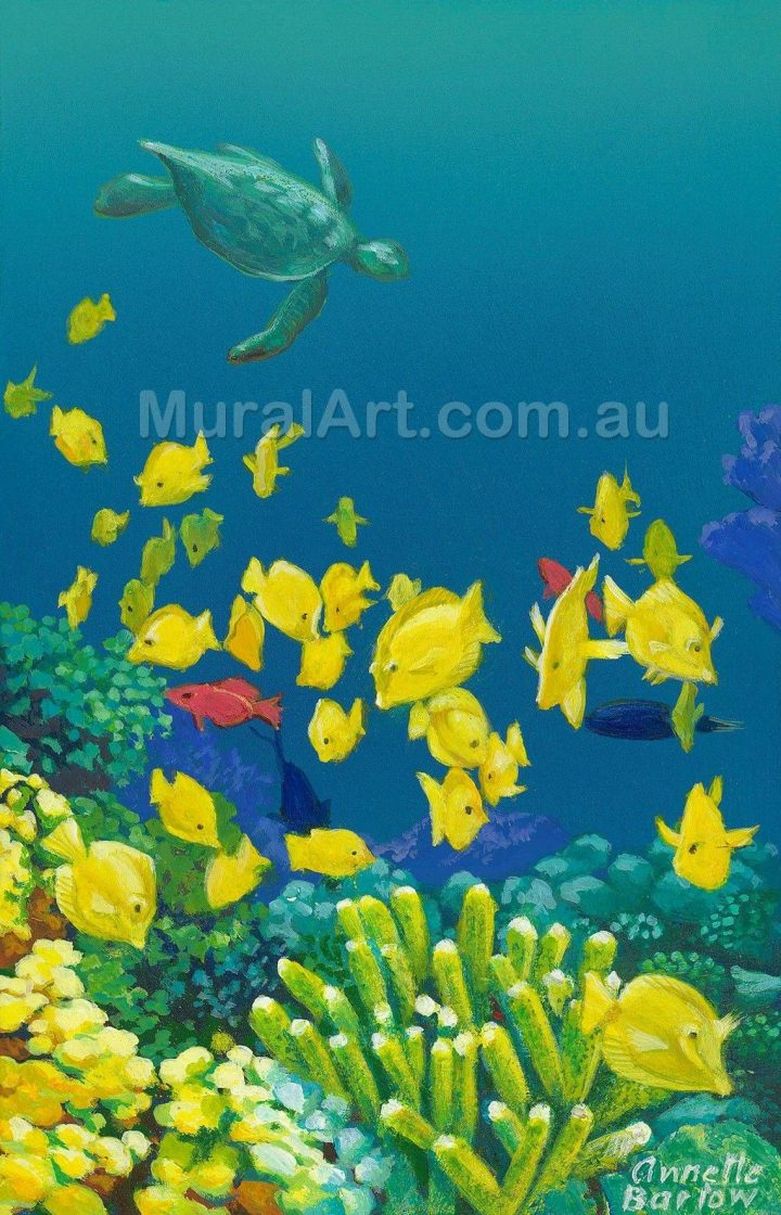Print of hand painted depiction of a turtle swimming with yellow fish